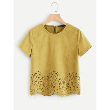 Scallop Laser Cut Out Top Ginger