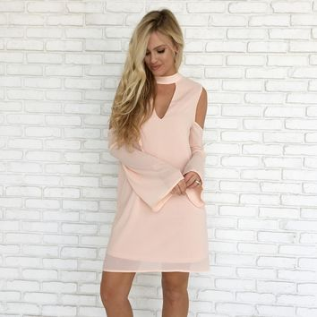 Dance Floor Shift Dress in Pale Pink