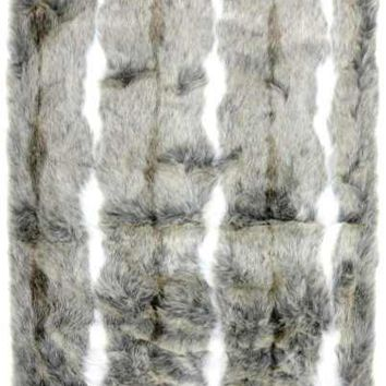 Faux Arctic Fox Fur Table Runner White Silver