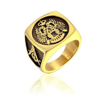 US 7 to 15 size Master Freemason Masonic Signet Rings eagle Titanium Stainless Steel Iced Out Bling Gold Ring for Men Jewelry
