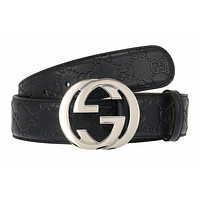 NEW GUCCI CURRENT BLUE GG GUCCISSIMA LEATHER INTERLOCKING G BUCKLE BELT 85/34