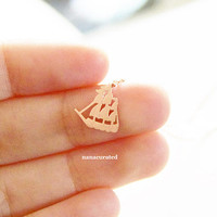 Tiny Sail Boat Charm Necklace, Dainty Charm Necklace, Necklaces, Hipster Necklace, Charms, Holiday Gifts, Gift Ideas, Arrow Necklace
