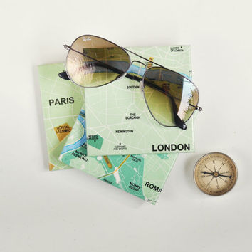 Map Coasters Paris London or Rome Choose the City Travel Wanderlust Coasters Green Urban, set of 4