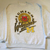 University of Michigan Wolverines Heavy Sweat Shirt by Home Team Advantage Large