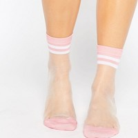 ASOS Sheer Stripe Ankle Socks at asos.com
