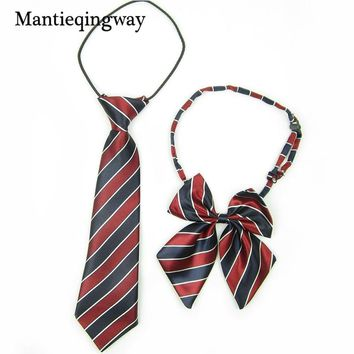 Mantieqingway School Uniform Colorful Stripe Scottish Plaid Cravat For Boy/Girl Collar Baby Bow Tie Fashion Bowtie Tie Necktie