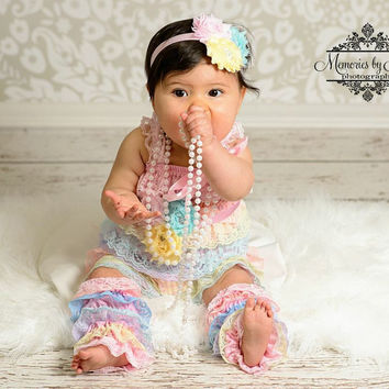 Shades of Pastel Lace Petti Romper Set