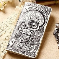 Genuine Leather Doodle Style Wallet Hand Embroidery/handtailor Cowhide,inner Senses