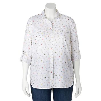 SONOMA life + style Printed Camp Shirt - Women's