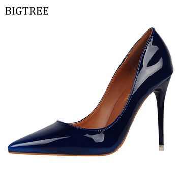 Size34-39 Women Pumps High Heels Patent Leather Royal Blue Green Red 2018 Super Sexy Brand Female Shoes Zapatillas Mujer 10cm
