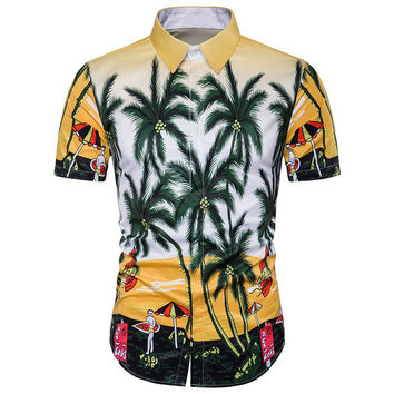 Hawaiian Top 2017 Summer Mens Brand Clothing Short Sleeve Button Down Casual Shirts Men Beach Hawii Printing Shirts Male Clothes