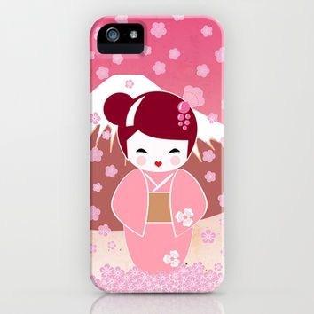 Sakura Japanese Doll Kokeshi iPhone & iPod Case by cafelab