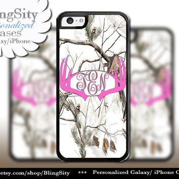 Hot Pink Antlers Monogram iPhone 5C 6 Plus Case Browning iPhone 5s iPhone 4 case Ipod White Camo Deer Personalized Country Inspired Girl