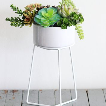 """Round White Ceramic Table Top Plant Stand12.25"""" Tall x 5.25"""" Diameter"""