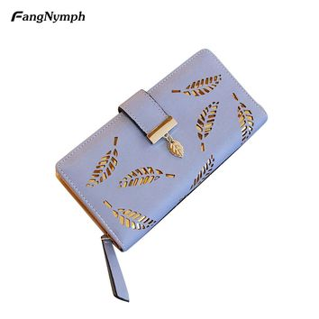 Women's Long Leaf Bifold Wallet Leather Hollow Card Holder Purse Clutch Handbag