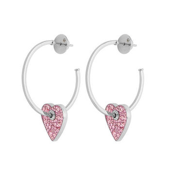 Bendel Rocks Heart Charm Hoop Earring