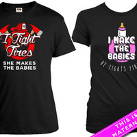 Matching Couples Shirt Pregnancy Announcement I Fight Fires She Makes The Babies Baby Announcement Maternity Couples Gifts MAT-590-591