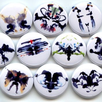 "INKBLOTS Rorschach Psychology 10 Pinback 1"" hand pressed Buttons Badges Pins"