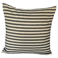 Home Decor, Vintage Inspired Black and Cream Stripes Pillow cover 26 inches-Decorative House Decor Euro Shams