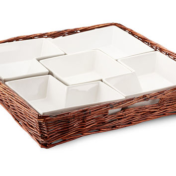 Willow Square Chip & Dip Platter, Serving Bowls