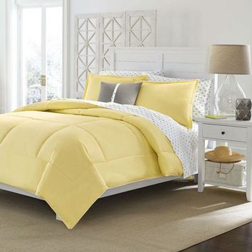 Twin size Cotton Comforter in Solid Yellow - Machine Washable