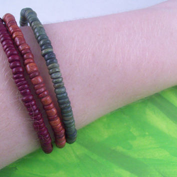 Earthy Wooden Beaded Stretch Bracelet Set Medium (Set of 3 bracelets)