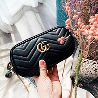 GUCCI New fashion leather leisure chain high quality shoulder bag women Black