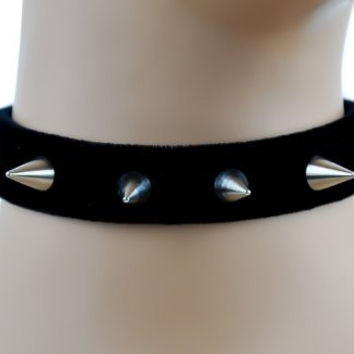 Soft Black Velvet Spike Choker Necklace