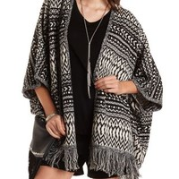 Fringed Poncho Cardigan by Charlotte Russe