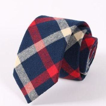 Plaid Blue White & Red Tie