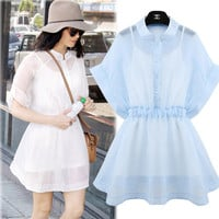 Short-Sleeve A-Line Chiffon Dress With Button Up
