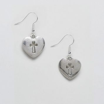 Reclaimed Vintage Inspired Heart And Cross Earrings at asos.com