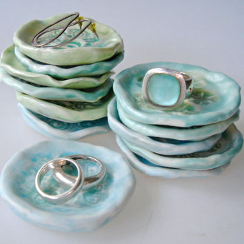 Ring dish holder, wedding favor, 12 bridesmaid favors, bridal shower favor, jewelry dish, aqua turquoise and pale blue