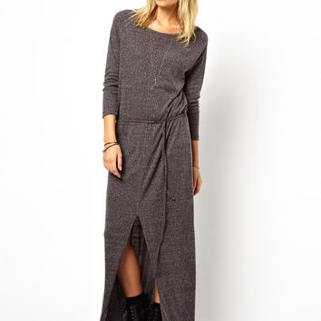 ASOS Maxi Dress In Cosy Nepi With Front Split