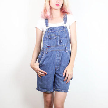 Vintage Soft Grunge Overalls 1990s Shorts Overalls Blue Jean Jumper Romper Shortalls 90s Coveralls Squeeze Jeans Denim Playsuit S M Medium