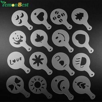 DCCKU7Q 16Pcs Coffee Stencils Mold Milk Template Cake Cupcake Stencil Coffee Barista Cappuccino Template Strew Pad Duster Spray Tools