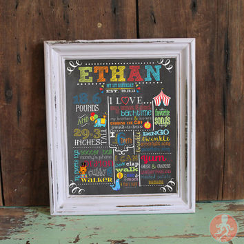 Fisher Price Circus Chalkboard Birthday Sign | 1st Birthday Carnival Birthday Poster | Printable Birthday Sign