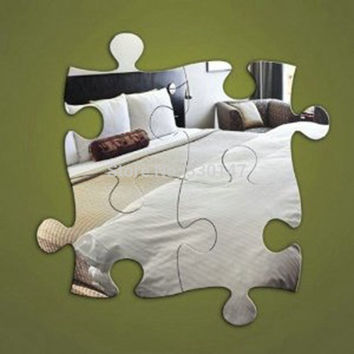 "Puzzle Piece Mirror Wall Decoration, (4 pieces), Unique Mirror Home, Office, Kid's Room, Living Room Decor, 16"" x 16"""