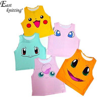 Summer 2015 Pokemon Pattern Crop Top Women Camis Pikachu Charmander Squirtle Print tank tops Colorful sleeveless Tee Vest