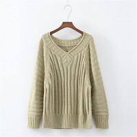 Pullover Knit Long Sleeve V-neck Korean Tops [9067786308]