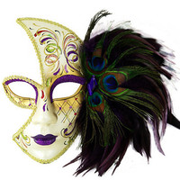 Peacock Venetian Laser Cut Masquerade Mask with Feathers - Purple