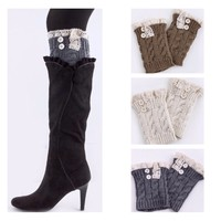 In Style Cable Knit Lace Motif Button Accent Boot Topper Leg Warmer