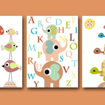 "Art for Childrens Wall Art Baby Room Decor Baby Nursery Decor Nursery print set of 3 11"" x 14"" giraffe elephant nursery alphabet nursery"