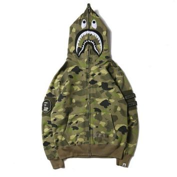 DCCK7XP BAPE SHARK Fashion Casual Long Sleeve Sweater Zipper Hoodie