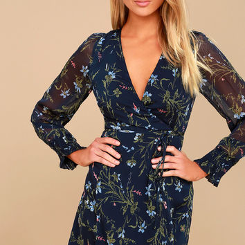 Everything is Blossom Navy Blue Floral Print Wrap Dress