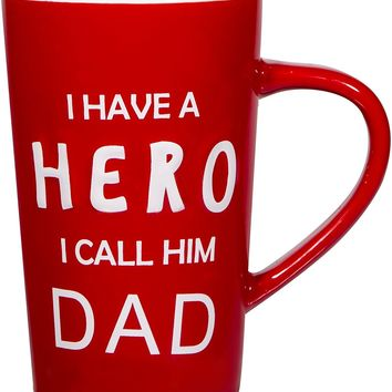 """Gift Boutique 18 oz Father's Day Ceramic Coffee Mug """"I Have a HERO I Call Him DAD"""" Papa Tea Cup for Birthday Presents"""