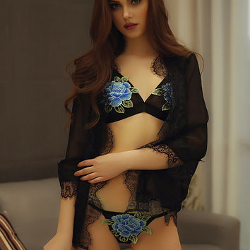 Summer Floral Embroidery Fashion Stylish Sexy Underwear [10594460803]