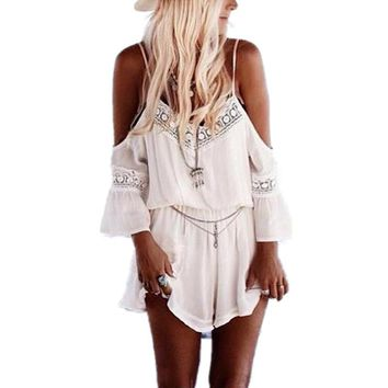 New Fashion Women 2017 Summer Rompers Plus Size XXXL Lace Crochet Overalls V-Neck Sexy Chiffon Strap Beach Short Jumpsuits