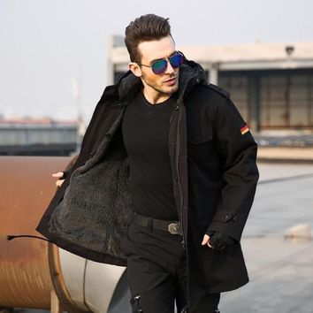 Trendy Men German Army Military Tactical Jacket Men's Classic Windproof Thermal Jacket  Camel Hair Coat Size M-3XL AT_94_13