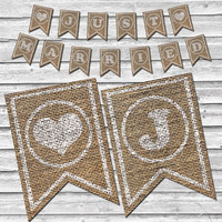 Burlap Just Married Banner – Printable Fall Wedding Decor –  Rustic Burlap Wedding Decoration – Stamped Burlap Banner - INSTANT DOWNLOAD